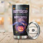 Dragon And Jack-o'-lantern Tumbler Buckle Up Buttercup You Just Flipped My Witch Switch Tumbler Gifts For Halloween 20 Oz Sports Bottle Stainless Steel Vacuum Insulated Tumbler