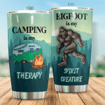 Bigfoot Is My Spirit Creature Camper Van And Bigfoot Tumbler Camping Is My Therapy Tumbler Gifts For Bigfoot Lovers, Camping Lovers 20 Oz Sports Bottle Stainless Steel Vacuum Insulated Tumbler