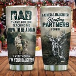 Personalized To My Dad Hunting Partner For Life Dad And Daughter Stainless Steel Tumbler Gifts For Father's Day GrandFather Uncle Man Hunter Predator Who Love Hunting Tumbler 20Oz