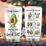 Keep Calm Exercise Avocado Tumbler New Year's Avocalutions Tumbler Gifts For Avocado Lovers On Birthday Christmas Thanksgiving 20 Oz Sports Bottle Stainless Steel Vacuum Insulated Tumbler