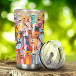 Multicolor Pitbull Dog Stainless Steel Tumbler, Tumbler Cups For Coffee/Tea, Great Customized Gifts For Birthday Christmas Thanksgiving