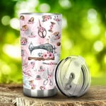 Sewing Tools With Floral Stainless Steel Tumbler, Tumbler Cups For Coffee/Tea, Great Customized Gifts For Birthday Christmas Thanksgiving, Anniversary