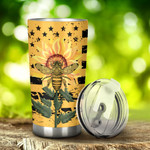 Bee And Sunflower Tumbler Stainless Steel Tumbler, Tumbler Cups For Coffee/Tea, Great Customized Gifts For Birthday Christmas Thanksgiving, Anniversary