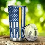 Softball And American Flag Tumbler Stainless Steel Tumbler, Tumbler Cups For Coffee/Tea, Great Customized Gifts For Birthday Christmas Thanksgiving, Anniversary