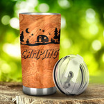 Camping In Wood Background Tumbler Stainless Steel Tumbler, Tumbler Cups For Coffee/Tea, Great Customized Gifts For Birthday Christmas Thanksgiving, Anniversary