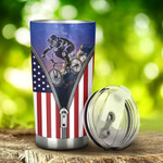 BMX USA Flag Zipper Tumbler Stainless Steel Tumbler, Tumbler Cups For Coffee/Tea, Great Customized Gifts For Birthday Christmas Anniversary