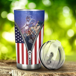 Motocross USA Flag Zipper Tumbler Stainless Steel Tumbler, Tumbler Cups For Coffee/Tea, Great Customized Gifts For Birthday Christmas Anniversary