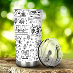 Camping Hand Drawn Tumbler Stainless Steel Tumbler, Tumbler Cups For Coffee/Tea, Great Customized Gifts For Birthday Christmas Anniversary