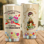 I'm A Simple Woman I Love Coffee And Crochet Vintage Tumbler Gifts For Crochet Lovers, Coffee Lovers On Birthday Christmas 20 Oz Sports Bottle Stainless Steel Vacuum Insulated Tumbler
