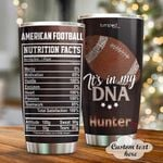 PersonalizedAmerican Football In My DNA Custom Name Stainless Steel Tumbler, Tumbler Cups For Coffee/Tea, Great Customized Gifts For Birthday Christmas Thanksgiving