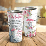 To My Daughter Elephant Flower I Am So Proud Of You Personalized Name PU  Tumbler LCRE LIMB