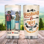Personalized Husband And Wife Hiking Partners For Life Couple Hiking Steel Tumbler 20oz Tumbler For Couple Parents Family Special Gifts For Birthday Valentine 2 Different Sides