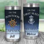 Personalized Couple Tumbler I'm The Pontoon Captain I Make Ship Happen Tumbler Christmas Halloween Anniversary Birthday Gifts For Wife From Husband Couple Gifts Custom Names Tumbler Cup For Her