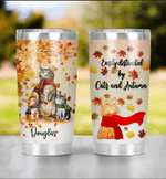 Custom Autumn Easily Distracted By Cats And Autumn Tumbler Mug, Fall Favorite Maple Leave Fall Autumn Halloween Travel Cup, Cat Lovers Insulated Water Bottle Christmas Birthday Thanksgiving