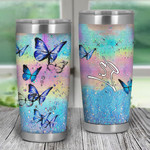 Personalized Hologram Butterflies Tumbler Gifts For Butterfly Lovers On Birthday Christmas Thanksgiving 20 Oz Sports Bottle Stainless Steel Vacuum Insulated Tumbler