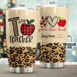 Teacher Tumbler Personalized Peace Love Teacher Size 20 Oz Coffee Tumbler