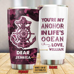 Personalized Custom Name Sailor Camo My Anchor Stainless Steel Tumbler, Tumbler Cups For Coffee Or Tea, Great Gifts For Thanksgiving Birthday Christmas