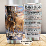 Personalized Deer Couple To My Husband Custom Name Stainless Steel Tumbler, Tumbler Cups For Coffee/Tea, Great Customized Gifts For Birthday Christmas Thanksgiving