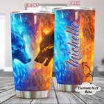 Personalized Wolf Fire And Water Stainless Steel Tumbler, Tumbler Cups For Coffee/Tea, Great Customized Gifts For Birthday Christmas Thanksgiving, Anniversary
