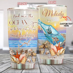 Personalized Sea Turtle And Into The Ocean I Go To Lose My Mind And Find My Soul Stainless Steel Tumbler Cups For Coffee/Tea, Great Customized Gifts For Birthday Anniversary