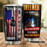 Personalized American Flag Welder  Stainless Steel Tumbler, Tumbler Cups For Coffee/Tea, Great Customized Gifts For Birthday Christmas Thanksgiving, Anniversary
