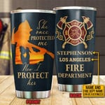 Personalized Name Firefighter Protect Mom Stainless Steel Tumbler, Tumbler Cups For Coffee Or Tea, Great Gifts For Thanksgiving Birthday Christmas