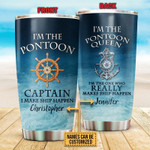 Personalized Custom Name Pontoon Captain Stainless Steel Tumbler, Tumbler Cups For Coffee Or Tea, Great Gifts For Thanksgiving Birthday Christmas