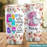 Personalized She Works Willingly With Her Hands Custom Name Stainless Steel Tumbler, Tumbler Cups For Coffee/Tea, Great Customized Gifts For Birthday Christmas Thanksgiving