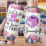 Personalized Just A Gir Who Loves Yarn Custom Name Stainless Steel Tumbler, Tumbler Cups For Coffee/Tea, Great Customized Gifts For Birthday Christmas Thanksgiving