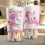 Personalized Baking Is My Therapy Stainless Steel Tumbler, Tumbler Cups For Coffee/Tea, Great Customized Gifts For Birthday Christmas Thanksgiving Anniversary