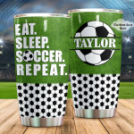 Personalized Eat Sleep Soccer Repeat Stainless Steel Tumbler, Tumbler Cups For Coffee/Tea, Great Customized Gifts For Birthday Anniversary