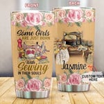 Personalized Born To Sewing Custom Name Stainless Steel Tumbler, Tumbler Cups For Coffee/Tea, Great Customized Gifts For Birthday Christmas Thanksgiving