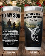 Personalized Custom Name Dad To My Son Whenever You Feel Overwhelmed - Hunting Stainless Steel Tumbler, Tumbler Cups For Coffee/Tea, Great Gifts For Birthday Christmas Thanksgiving