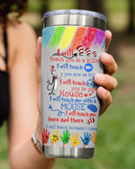 Personalized Teach Love Inspire, I Will Teach You In Your House, The Cat In The Hat Stainless Steel Tumbler Cup For Coffee/Tea