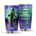 Custom Name Witch Lady Halloween Tumbler Cup, The West Oh Honey I'm The Wicked Witch Of Everything Travel Mug, Gifts For Halloween, Thanksgiving, Christmas, Birthday Water Bottle