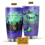 Personalized Custom Name Witch Bestie Get Your Witchy On Stainless Steel Tumbler, Tumbler Cups For Coffee Or Tea, Great Gifts For Thanksgiving Birthday Christmas