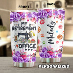 Personalized Sewing My Retirement Office Stainless Steel Tumbler, Tumbler Cups For Coffee/Tea, Great Customized Gifts For Birthday Anniversary