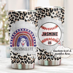 Personalized Baseball Stainless Steel Tumbler, Tumbler Cups For Coffee/Tea, Great Customized Gifts For Birthday Christmas Thanksgiving Anniversary