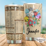 Personalized Crochet Knowledge Custom Name Stainless Steel Tumbler, Tumbler Cups For Coffee/Tea, Great Customized Gifts For Birthday Christmas Thanksgiving