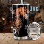 Brown Horse Black 3D Stainless Steel Tumbler