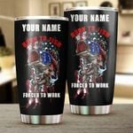 Personalized Fishing Born To Fish - Forced To Work American Flag 4th Of July Tumbler Cup Gifts For Dad Fishing Lover Travel Mug Stainless Steel Sport Water Bottle Gifts For Birthday Christmas
