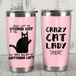 Black Cat Crazy Cat Lady I Would Slap The Stupid Out Of You Stainless Steel Tumbler, Tumbler Cups For Coffee/Tea, Great Customized Gifts For Birthday Anniversary