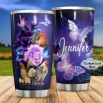 Personalized Chicken With Flowers Butterflies Stainless Steel Tumbler, Tumbler Cups For Coffee/Tea, Great Customized Gifts For Birthday Christmas Thanksgiving Anniversary