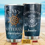 Personalized Custom Name Navy Veteran Ocean And His Commander-in-chief Stainless Steel Tumbler, Tumbler Cups For Coffee Or Tea, Great Gifts For Thanksgiving Birthday Christmas