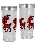 Preschool Teacher, Merry Christmas Stainless Steel Tumbler, Tumbler Cups For Coffee/Tea