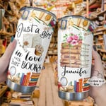 Personalized Girl In Love With Book Custom Name Stainless Steel Tumbler, Tumbler Cups For Coffee/Tea, Great Customized Gifts For Birthday Christmas Thanksgiving