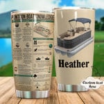 Personalized Pontoon Boat Knowledge Custom Name Stainless Steel Tumbler, Tumbler Cups For Coffee/Tea, Great Customized Gifts For Birthday Christmas Thanksgiving
