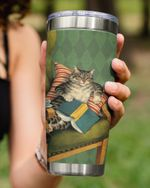 I Read Books, I Drink Tea And I Know Things, Cat Lying On The Couch Stainless Steel Tumbler Cup For Coffee/Tea