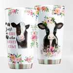 Personalized Lovely Cow And Flower Just A Girl Who Loves Cows Stainless Steel Tumbler Perfect Gifts For Cow Lover Tumbler Cups For Coffee/Tea, Gifts For Birthday Christmas Thanksgiving