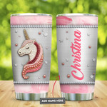 Unicorn Pink Picture Jewelry Style Personalized Tumbler Cup Stainless Steel Insulated Tumbler 20 Oz Great Customized Gifts For Birthday Christmas Thanksgiving Tumbler Travel Tumbler With Lid